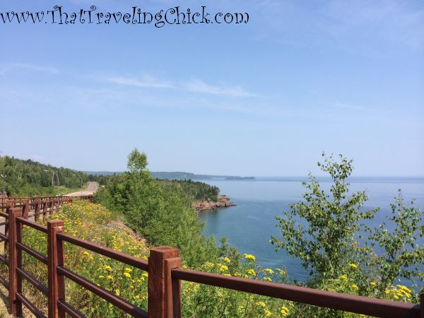 View of Lake Superior from the bicycle trail at  Silver Creek Cliff Tunnel #minnesota #tunnels #northshorehighway61minnesota