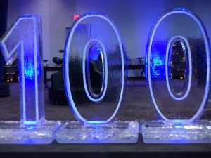 Hilton 100th anniversary ice sculpture