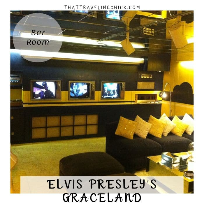 Elvis Presley Graceland - Bar Room at Graceland Couch and TVs #graceland #elvispresley #tennessee #memphis #tourgraceland