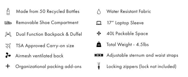 Settra Duffle Backpack Specs